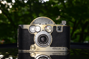 This 1945 Mercury II Model CX by the Universal Camera Corp. uses 35mm film and was revolutionary for its time. It was one of the first cameras to offer analog dials that allowed for various camera settings to adjust for light and other factors.