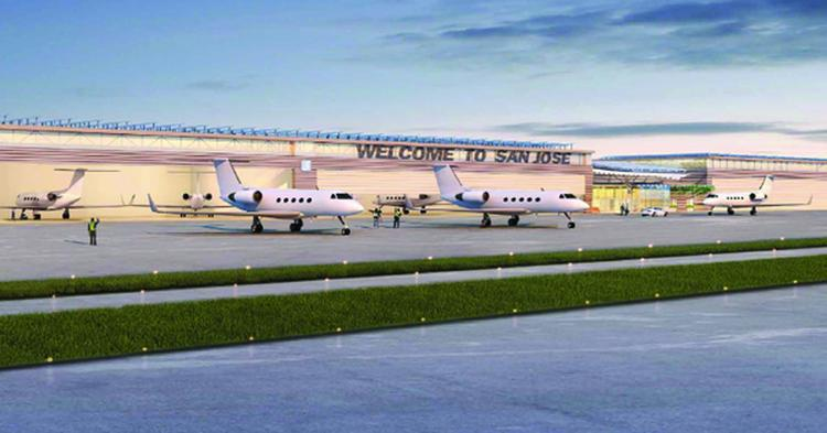 A rendering of a new private aviation terminal approved forMineta San Jose International Airport.