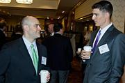 Brian Grossman of Prince Lobel Tye and Kris Hebert of DiCicco, Gulman & Company converse during the networking hour at the Boston Business Journal's Best in Boston Real Estate Awards luncheon held at the Sheraton Boston. Prince Lobel Tye was an event sponsor. Having a lighter moment at the Boston Business Journal's Best in Boston Real Estate Awards luncheon was Alicia Ianiere of the Pine Street Inn and Frank Longobardi of CohnReznick a presenting partner of the event.