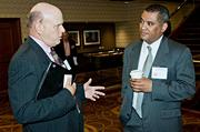 Jeff Hitchcock of Humboldt Storage & Moving in conversation with Martin Ervin of Prince Lobel Tye, an event sponsor of the Boston Business Journal's Best in Boston Real Estate Awards luncheon.