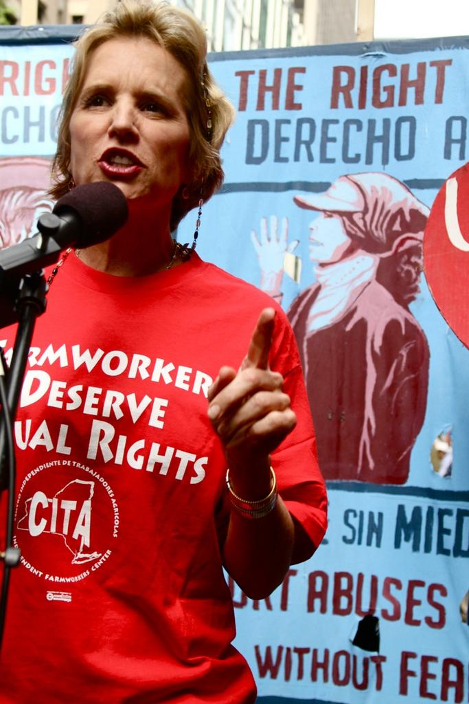 Kerry Kennedy joined other protestors at Wendy's Co.'s annual meeting to call for greater worker protections and pay from its suppliers.