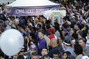 """A joyous crowd estimated at 15,000 attended the """"Long Live the Kings"""" rally Thursday evening at Cesar Chavez Park in downtown Sacramento, celebrating the team's change in ownership that prevented the Kings from moving to Seattle."""