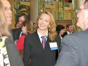 Iwona Goodrich of Wright State University speaks with guests.
