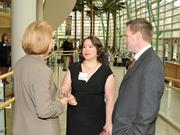 Erica Shaffer (center), one of the winners this year, speaks with DBJ Publisher Carol Clark.