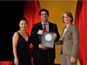 Dr. Amol Soin accepts the 2013 Forty Under 40 Hall of Fame induction honor alongside Dean Joanne LI of Wright State University, the title sponsor, and DBJ Publisher Carol Clark.