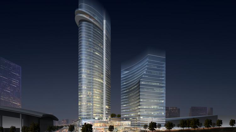 A Rendering Of The 35 Story Jw Marriott Hotel And 400 000 Square Foot