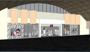 A front view of the H&M that will go into the former Barnes & Noble space in Union Station.