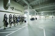 Bicycle racks are featured in the two parking garages at The Brix@26 on the South Side.