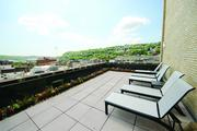The rooftop terrace at The Brix@26 on the South Side gives a view of the South Side Slopes as well as SouthSide Works.