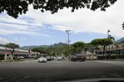 The Koolau Mountains are seen in the distance in this view from the base of Hahani Street in Kailua.
