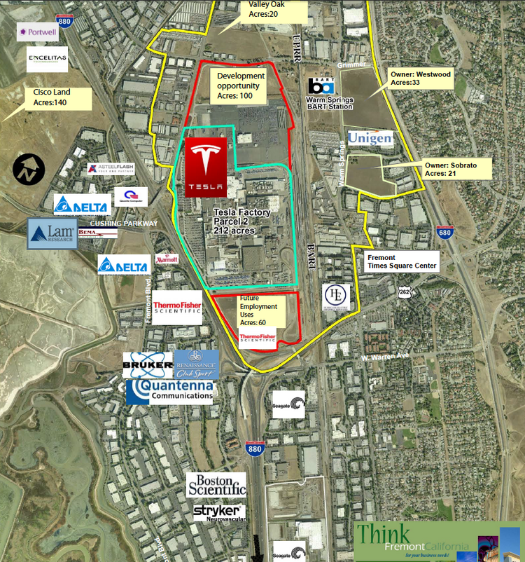 "A city of Fremont map breaking down the Warm Springs area the city is targeting for an ""innovation district"" and mixed-use development. The 109-acre UP parcel is directly North of Tesla (listed here previously as a 100-acre development opportunity)."