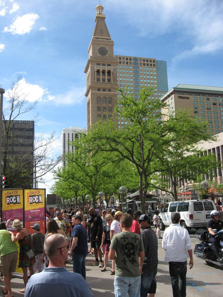 The 16th Street Mall is packed with crowds drawn to downtown events.