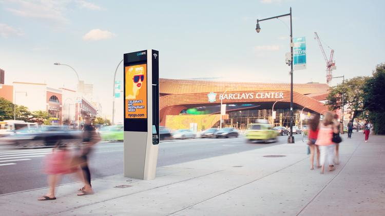 An illustration of how the new Link NYC kiosks would look near the Barclays Center.