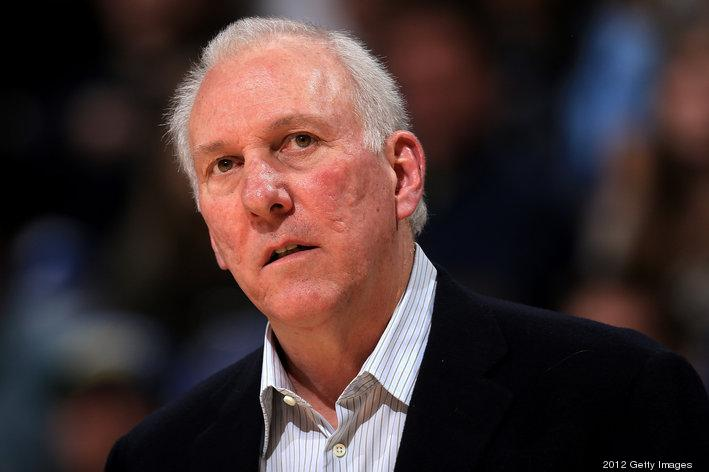 File photo of San Antonio Spurs head coach Greg Popovich. Pop's team will play its make up game against the Minnesota Timberwolves in April. The game that was supposed to be played in the Mexico City Arena was smoked out due to an electrical fire.
