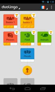 The Android app home page for Duolingo. The language learning platform is already available on iOS devices and through the Web for desktops.