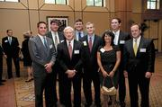Several employees from First Partners Bank came to support their company'€™s honoree, Kenneth Till, center.