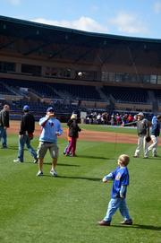 Throughout the two-day event, hundreds of parents played catch with their kids.