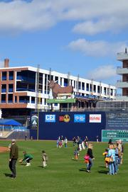 The view along right field will soon feature Diamond View III, which should be completed this summer.