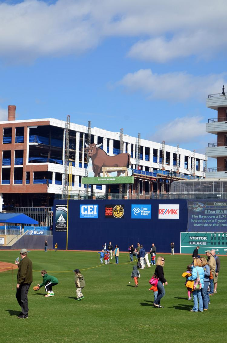 The view along right field at the Durham Bulls Athletic Park features the Diamond View III building that has now opened.