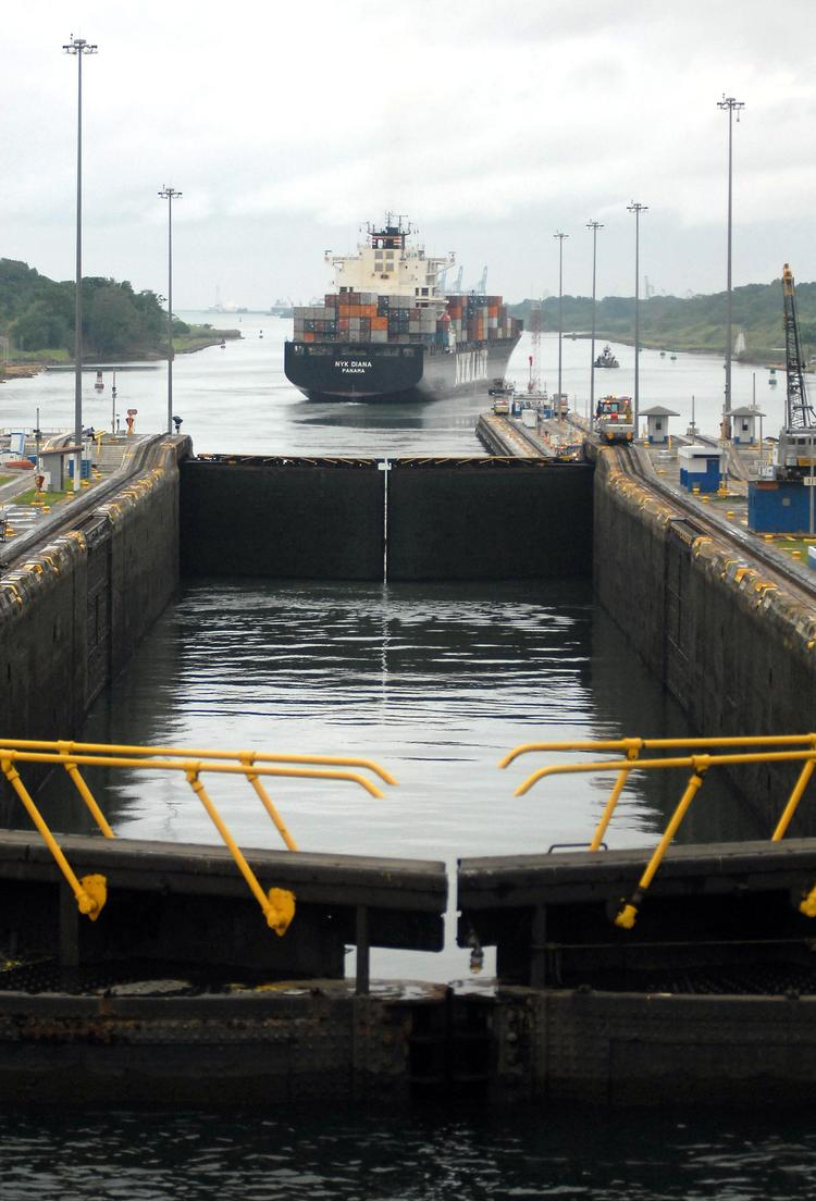 A ship leaves the last of the locks of the Panama Canal as it cruises off into the Atlantic Ocean in a 2008 photo.