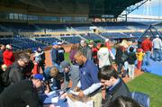 The line for batting practice started to fill up early in the day.