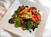 This filo blossom salad with strawberries, walnuts and a balsamic vinegar reduction is among the dishes at Chef Mark's Palate in Latrobe that are safe to eat for people suffering from congestive heart failure.