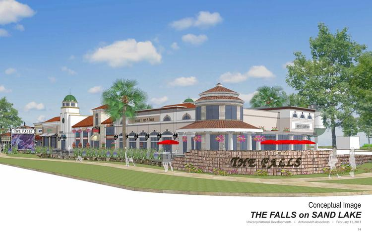 Orange County is hosting a community meeting on March 6 to discuss a proposed land-use change that would allow Orlando-based Unicorp National Developments Inc. to convert an existing church into a 30,000-square-foot upscale commercial center, dubbed The Falls at Sand Lake.