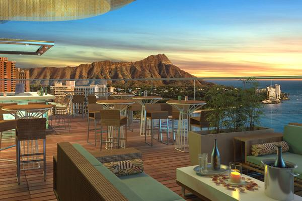 This rendering shows the view from the 3,000 square-foot wraparound lanai at Skybar Waikiki, which is planned for the 19th floor of the Waikiki Business Plaza.