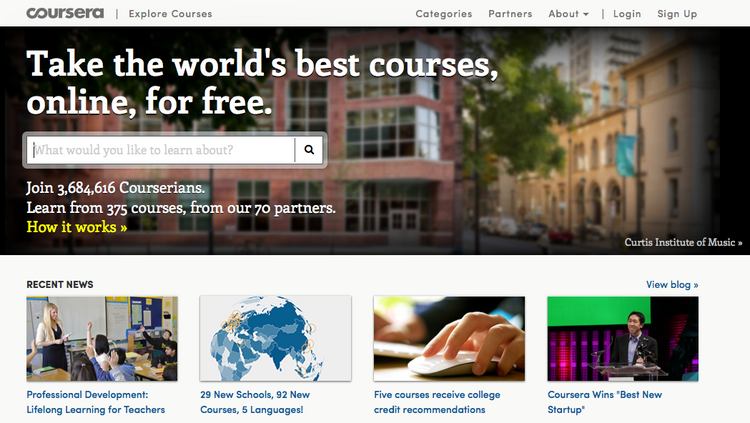 A snapshot of online education provider Coursera.