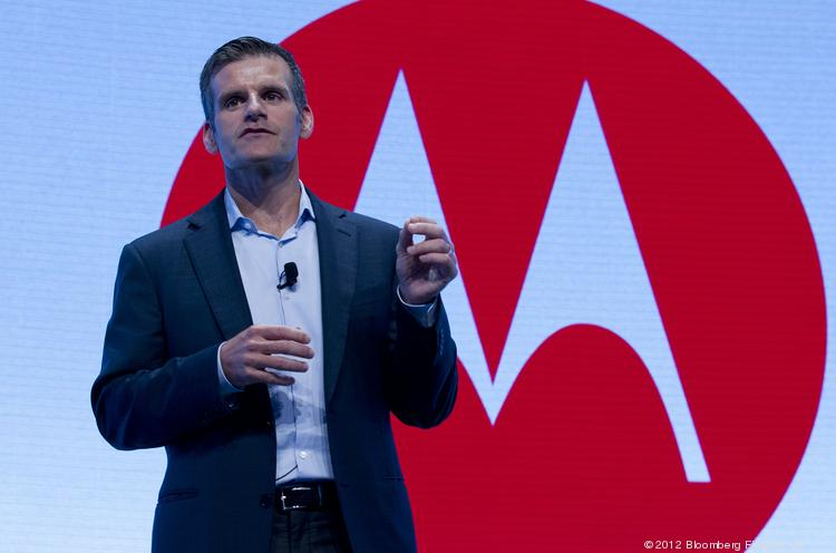 Dennis Woodside, chief executive officer of Motorola Mobility, speaks during a news conference in New York, U.S., on Wednesday, Sept. 5, 2012. Lenovo Group Ltd. is buying Motorola Mobility