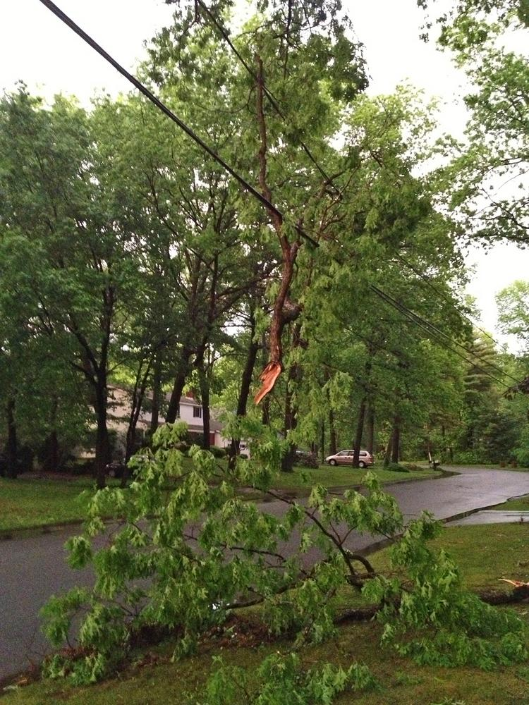 Clifton Park, NY, after the storm passed Wednesday night. Lightning and heavy winds caused power outages and damage in Albany, Rensselaer, Saratoga and Schenectady counties.