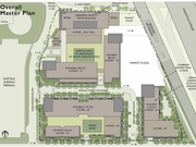 This map illustrates the entire 10-year master redevelopment plan for the L&H Station development site. The first phase includes a 100,000-square-foot office building along East Lake Street for Hennepin County, about 8,000-square-feet of commercial/retail space and a six-story apartment building with 125 units (depicted as a horizontal rectangle in the center of this rendering).