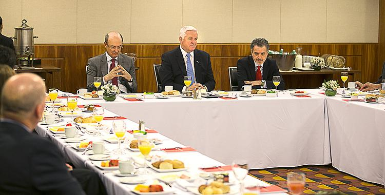 From left, Conrado Engel, senior vice president and executive officer at Banco Santander; Pennsylvania Gov. Tom Corbett; and Edvaldo Morata, managing director of corporate banking, Banco Santander, meet during a Team PA trade mission to Sao Paulo. The purpose of the meeting was for Corbett to interact with Brazilian business leaders interested in locating or expanding operations in Pennsylvania.
