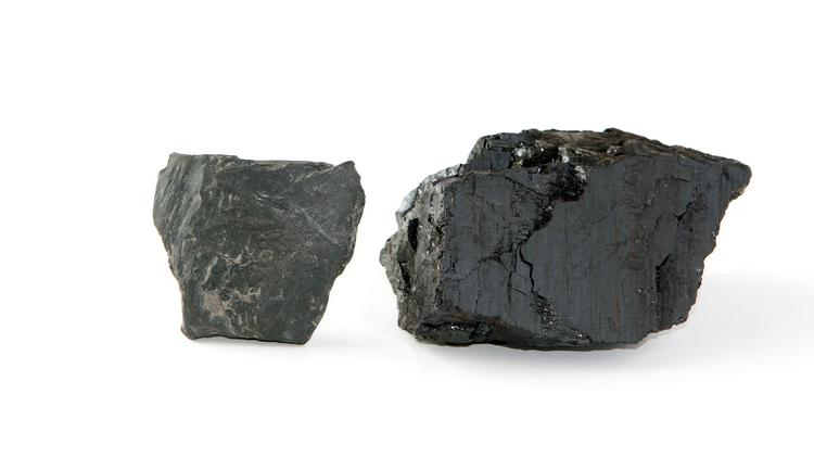 Samples of shale, left, and bituminous coal.