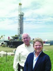 Pictured at the Walker 12-1H horizontal well site in eastern Arapahoe County. Jim Lowry, ConocoPhillips director of communications and public affairs for the Lower 48 states, and Eileen Dey, ConocoPhillips' stakeholder engagement manager for the Rockies.