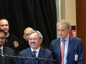 San Francisco Mayor Ed Lee, center, and Warren Browner, right, at March 5 press conference.