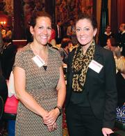 Duquesne University's Tracey Sheetz, left, and Megan Carone.