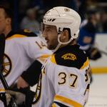 Bruins player <strong>Patrice</strong> <strong>Bergeron</strong> checking in at health insurance enrollment fair