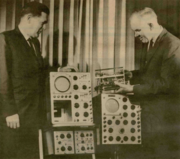 Here is a Tekweek image showing Vollum (right) and fellow Tektronix co-founder Jack Murdock at a 1964 event comparing the then-new 540 Series oscilloscopes with plug-ins with the historic 511 model on the right.