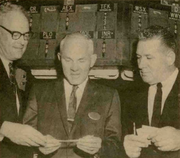 Also from Tekweek, this one shows Vollum on Jan. 10, 1964, at the New York Stock Exchange the day the company's stock went public. Vollum, the caption said, bought the first 100 shares.