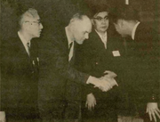 Here, Vollum is shown in 1965 after forming Sony-Tektronix. He's flanked by Sony co-founders Akio Morita (left) and Masaru Ibuka.