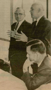 This image from the Tekweek paper identifies Vollum in Heerenveen, The Netherlands, where the company once had an office. The other men in the photo were identified as Klaas Hut and Larry Mayhew.
