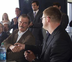 Former Mexican President Vicente Fox (left) shakes hands with Jamen Shively, (right) of marijuana firm Diego Pellicer Inc. during a press conference in Seattle.