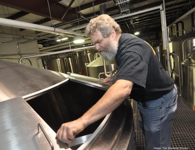 Brewmaster Paul McErlean describes the brewing system at Shmaltz Brewing Co. in Clifton Park.