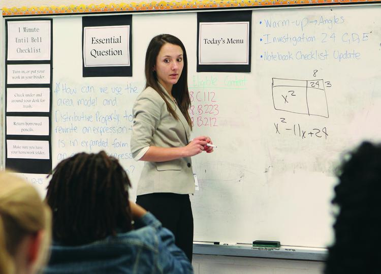 Allyson Vignone, a Pittsburgh Promise scholar in 2008, teaches eighth-grade math at Pittsburgh King Pre K-8 on the North Side.