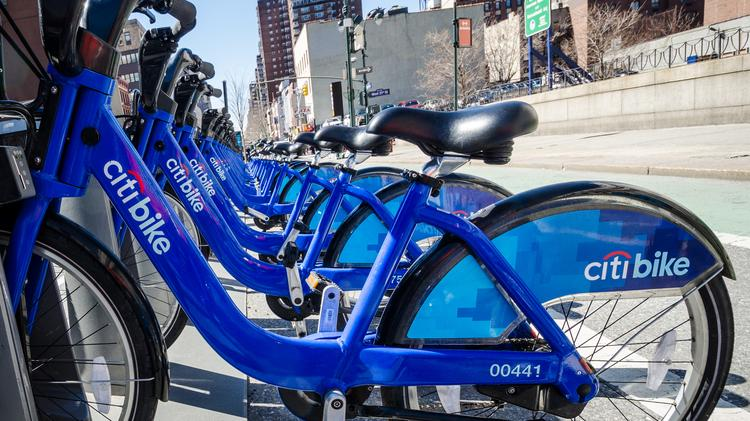 New Citi Bike bicycles in a docking station. (Photo by m01229. Used under Creative Commons license.)