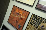 Some of the cool album covers lining the studio walls at the Houston band jam.
