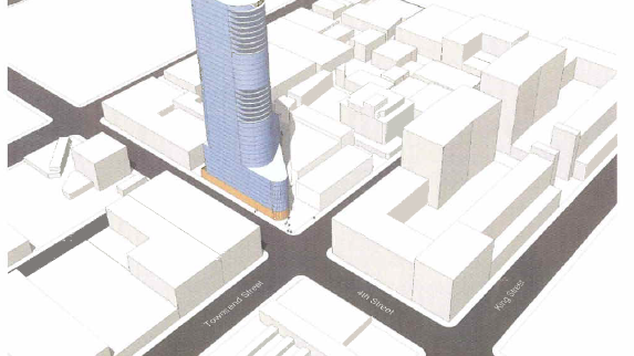 Tishman Speyer's very early rendering of one of the two towers it is planning at Fourth and Townsend Streets.