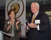 JCPS superintendent Donna Hargens, left, presented the first Jim Allen Award to Hilliard Lyons CEO Jim Allen, who created the awards program to recognize teachers, principals and educational groups.