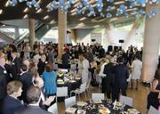 Guests filled the great lobby of the Perot Museum.